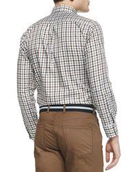 Peter Millar | Brown Melange Tattersall Woven Sport Shirt for Men | Lyst