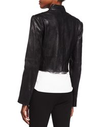 Halston - Black Cropped Leather Jacket - Lyst