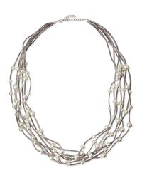 Kenneth Jay Lane | Metallic Long Seven-row Simulated Pearl & Crystal Cord Necklace | Lyst