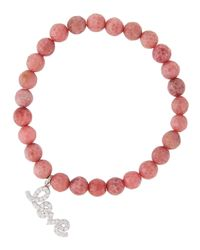 Tai | Pink Agate Beaded Stretch Bracelet W/ Pave Love Charm | Lyst
