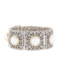 Konstantino - Metallic Square Filigree Mabe Pearl Hinged Bracelet - Lyst