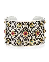 Konstantino | Multicolor Blue Topaz & Pink Tourmaline Filigree Cuff Bracelet | Lyst