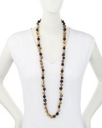 Ashley Pittman   Metallic Haba Horn & Bronze Beaded Rope Necklace   Lyst