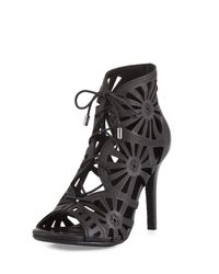 Joie   Black Paxton Laser-cut Leather Sandal   Lyst