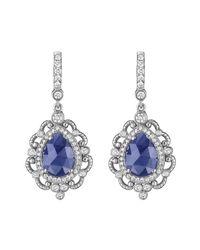 Penny Preville - Blue 18k White Gold Diamond & Sapphire Scroll Drop Earrings - Lyst