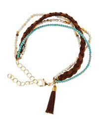 Panacea - Brown Multi-row Beaded & Tasseled Suede Bracelet - Lyst
