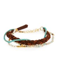 Panacea - Brown Multi-row Beaded & Tasseled Suede Bracelet - Lyst