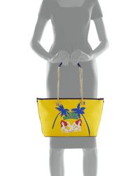 Love Moschino - Yellow Printed Saffiano Leather Shoulder Bag - Lyst