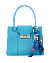 Love Moschino - Blue Saffiano Faux-leather Satchel With Scarf - Lyst