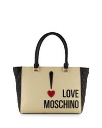 Love Moschino - Multicolor Exclamation Point Saffiano Faux-leather Tote - Lyst
