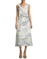 See By Chloé - Multicolor Sleeveless Floral-&-dot-print Midi Dress - Lyst