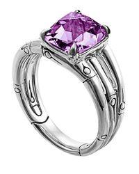 John Hardy - Purple Bamboo Octagonal Amethyst Ring - Lyst