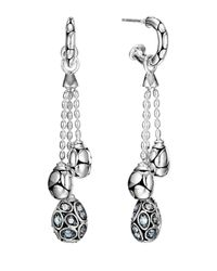 John Hardy | Metallic Kali Pebble Silver Lava Drop Earrings W/ Moonstone Pave | Lyst