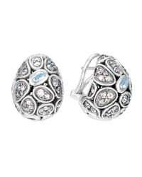 John Hardy | Metallic Kali Pebble Lava Moonstone Button Earrings | Lyst