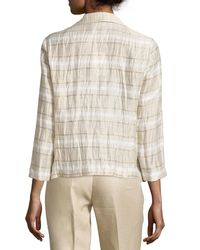 Lafayette 148 New York - Natural Bellene Linen-blend Striped Jacket - Lyst