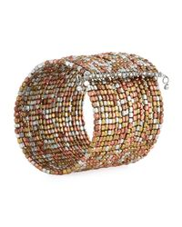 Panacea - Wide Metallic Beaded Wire Cuff Bracelet - Lyst