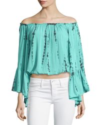 Surf Gypsy - Green Tie-dye Off-the-shoulder Top - Lyst