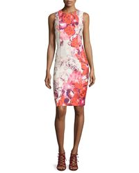 Eliza J - Multicolor Sleeveless Floral-print Sheath Dress - Lyst