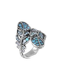 John Hardy | Blue Silver Feather Lava Sapphire Gradient Bypass Ring | Lyst