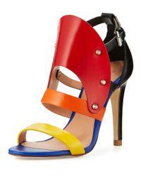 L.A.M.B. - Orange Gareth Cutout Studded Leather Sandal - Lyst