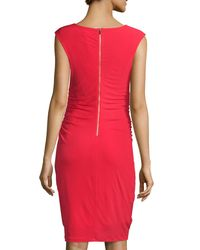 Carmen By Carmen Marc Valvo - Red Sleeveless Bateau-neck With Zipper Detail Dress - Lyst