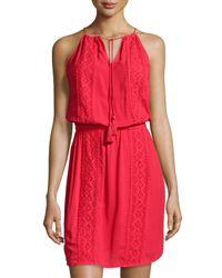 MICHAEL Michael Kors - Red Lace-panel Halter Dress - Lyst