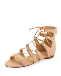 Ivanka Trump - Multicolor Callie Snake-embossed Lace-up Sandal - Lyst