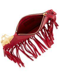 Valentino - Red Zodiac Fringe Leather Clutch Bag - Lyst