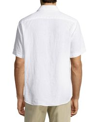 Neiman Marcus | White Linen Chambray Short-sleeve Shirt for Men | Lyst