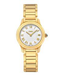 Fendi | White 26mm Golden Stainless Steel Classico Bracelet Watch | Lyst