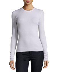 Michael Kors - Gray Cashmere Long-sleeve Crewneck Sweater - Lyst