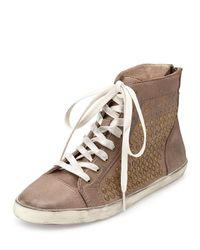 Frye - Gray Kira Studded High-top Sneaker - Lyst