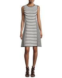 Catherine Malandrino - Black Claire Striped Sleeveless Fit-&-flare Dress - Lyst