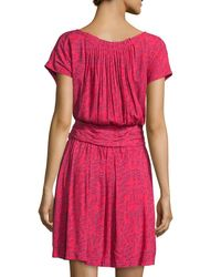 See By Chloé - Multicolor Printed Short-sleeve Blouson Dress - Lyst