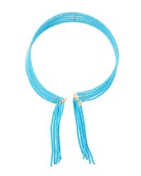 Fragments   Blue Seed Bead Fringed Choker Necklace   Lyst