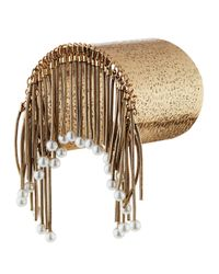 Panacea | Metallic Hammered Golden Pearly Fringe Cuff Bracelet | Lyst