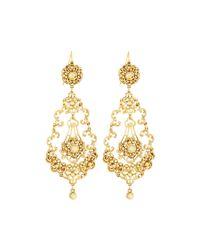 Jose & Maria Barrera | Metallic Golden Filigree Crystal Teardrop Earrings | Lyst
