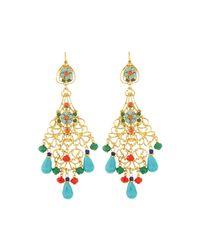 Jose & Maria Barrera | Metallic Golden Filigree Chandelier Earrings W/ Multicolor Crystals & Beads | Lyst
