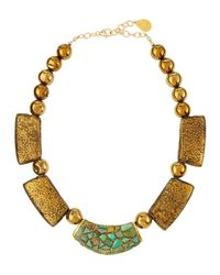 Devon Leigh | Metallic Golden Turquoise & Pyrite Beaded Bib Necklace | Lyst