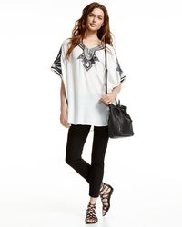 Neiman Marcus - White Embroidered V-neck Poncho Top - Lyst