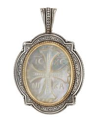 Konstantino - Metallic Carved Mother-of-pearl Cross Pendant Enhancer - Lyst