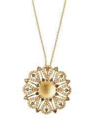 Roberto Coin | Metallic 18k Citrine & Mixed Diamond Flower Pendant Necklace | Lyst