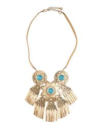 Lydell NYC | Blue Golden Floral Bib Necklace W/ Suede Cord & Faux Turquoise | Lyst
