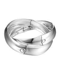 John Hardy - Metallic Bamboo Silver Interlocking Bangle Bracelet - Lyst