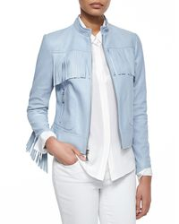 Dawn Levy | Blue Long Sleeve Zip-front Leather Jacket | Lyst