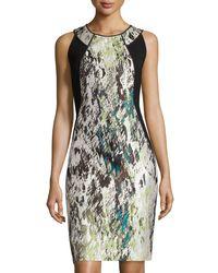 Lafayette 148 New York   Green Alora Silk Jacquard Sheath Dress   Lyst