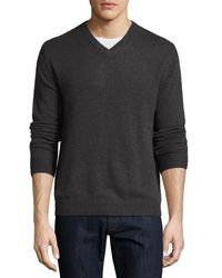 Neiman Marcus | Black Cashmere V-neck Pullover Sweater for Men | Lyst