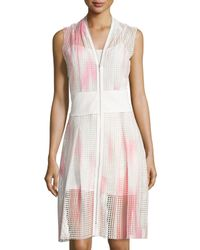 T Tahari - Pink Sleeveless Dip-dye Eyelet Dress - Lyst