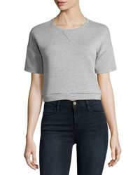 FRAME | Gray Short-sleeve Cropped Sweatshirt | Lyst