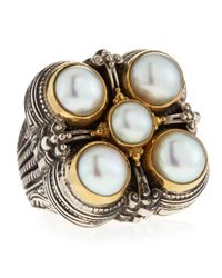 Konstantino | Metallic 5-pearl Square Ring | Lyst